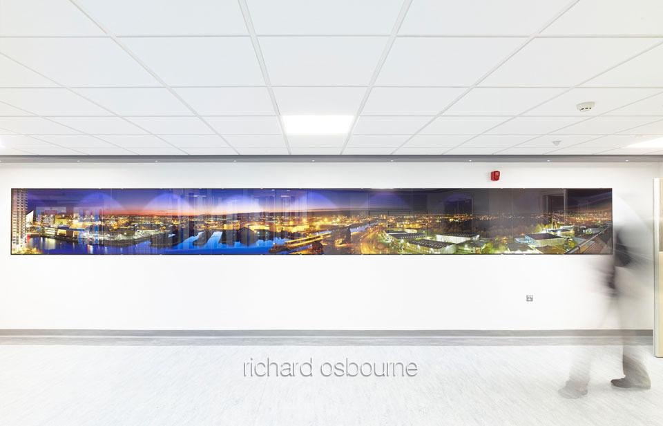 Salford Royal, Irving Corridor - PhotoGlassWorks Front Lit Hexaptych 8100 x 900mm