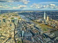 V11F15  Aerial View of The Shard and the City of London, UK
