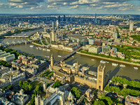 V11F5  Aerial View of The Houses of Parliament and the Hear of London, UK