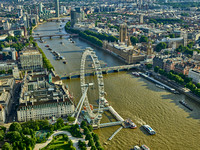 V11F6  Aerial View of The Millennium Wheel, Westminster, London, UK