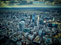 V11F12  Aerial View of The City of London, UK
