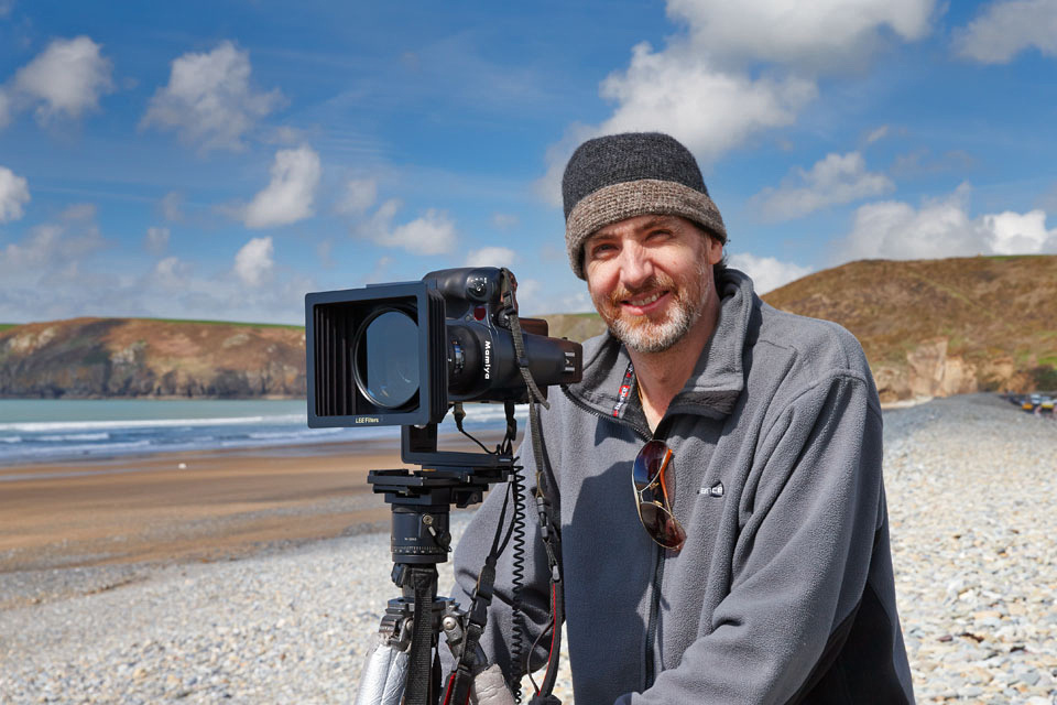 On Newgale Beach, Pembrokeshire with the Mamiya 645 and Phase One IQ260.